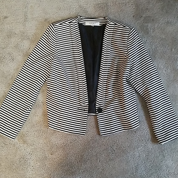 7382f63e6bd1 Nine West Jackets & Coats | Stunning Black And White Striped Blazer ...